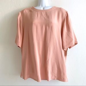 NWT Blush Pink Silk Short Sleeve Top Shell SzL $13